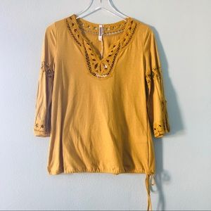 Boutique | mustard yellow top with cutout lace